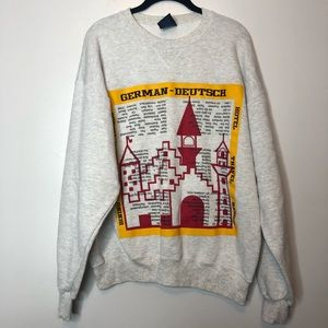 VTG German To English Translation Sweatshirt Large